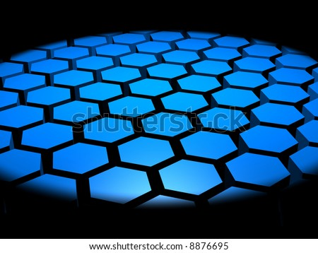 Computer generated 3D image of hexagon shapes under a spotlight - stock photo