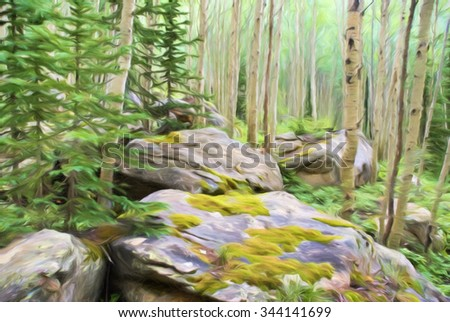 Computer generated digital art of an alpine forest of aspen and evergreen trees framed by big mossy boulders. - stock photo