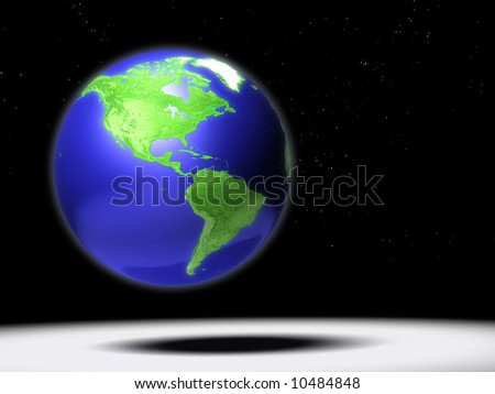 Computer generated Earth globe with America focus