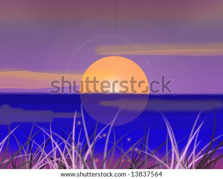 Computer-generated fantasy sunset, abstract background - stock photo