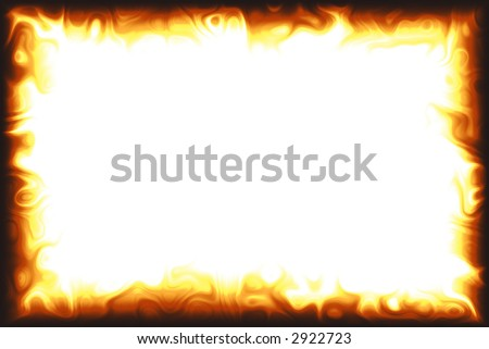 Computer generated flame border over white background - stock photo