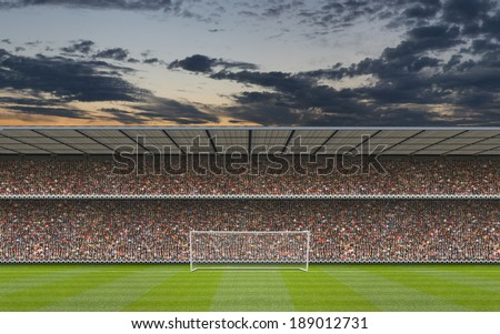computer generated football stadium stand with crowd, goal posts and football pitch - stock photo