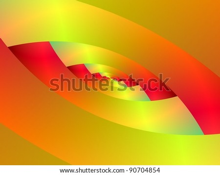 Computer generated fractal image with an abstract spiral design in red and yellow