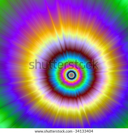 Computer generated fractal image with an explosion of color design