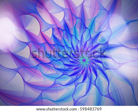 Computer generated fractal with the image of abstract flower petals