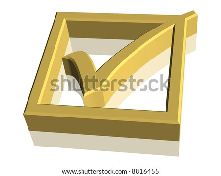 Computer generated gold 3D check mark symbol - stock photo