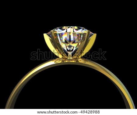 Computer generated golden diamond ring - stock photo