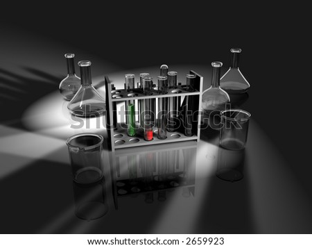 Computer-generated graphic depicting laboratory equipment (concept: science or research)