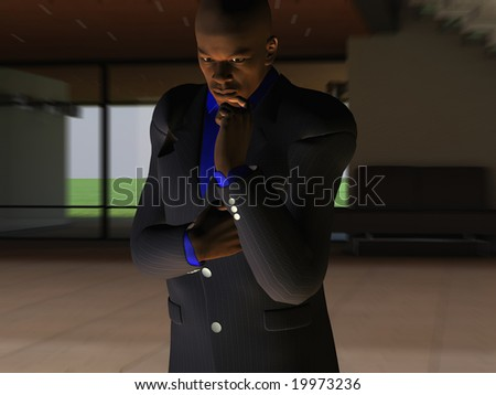 Computer Generated Illustration Of A Businessman Thinking