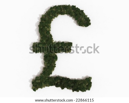 Computer Generated Illustration Pound Sterling Sign Stock