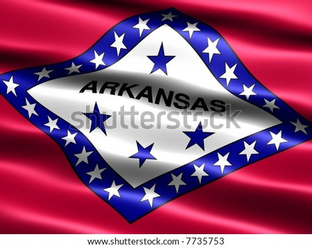 Computer generated illustration of the flag of Arkansas with silky appearance and waves - stock photo