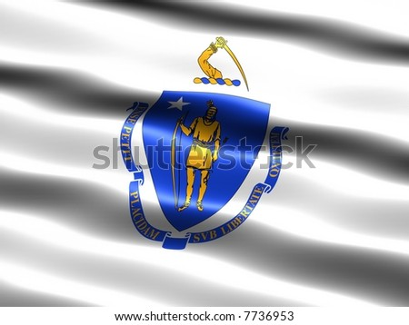 Computer generated illustration of the flag of the state of Massachusetts with silky appearance and waves - stock photo