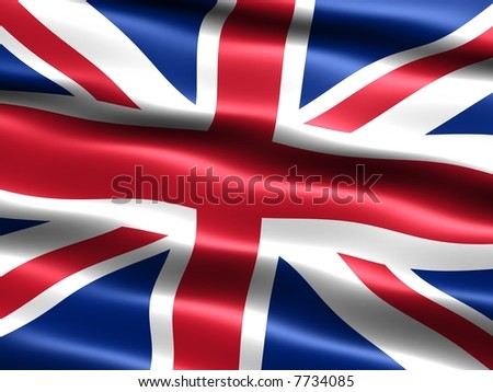 Computer generated illustration of the flag of the United Kingdom with silky appearance and waves - stock photo