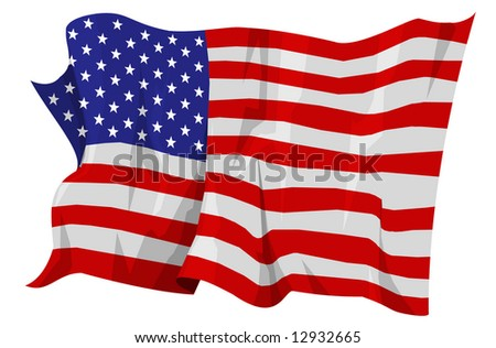 Computer generated illustration of the flag of United States of America - stock photo