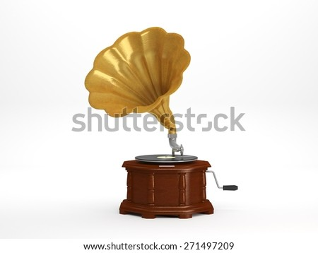 Computer Generated Illustration of Vintage Gramophone on white background  - stock photo