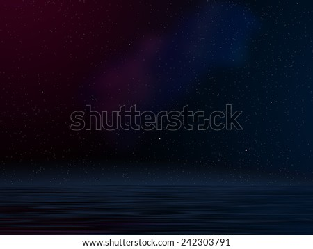 Computer generated illustration showing stars in galaxy with flood water effect - stock photo