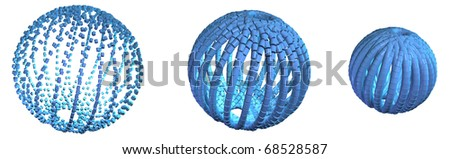 Computer generated illustration using orbs to depict the business concept of amalgamation or a network - stock photo
