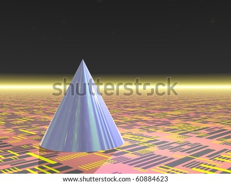 Computer Generated Image - Blue Cone on Neutral Background - stock photo