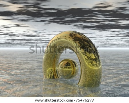 Computer Generated Image: Golden Torus and Sphere Against Neutral Background
