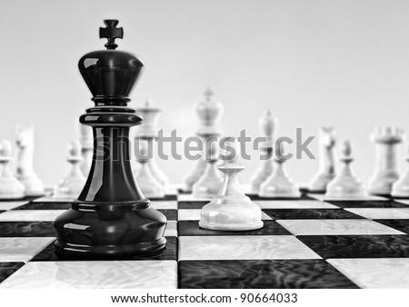Computer generated image of a chess board tower point of view - stock photo