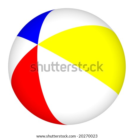 Computer generated image of a colorful 3D beach ball isolated on a white background. - stock photo