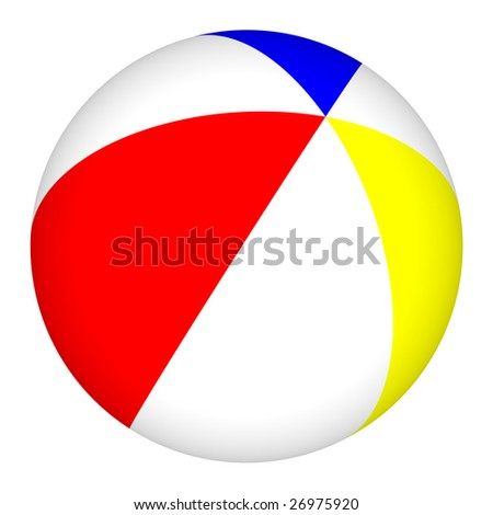Computer generated image of a colorful 3D beach ball isolated on a white background.