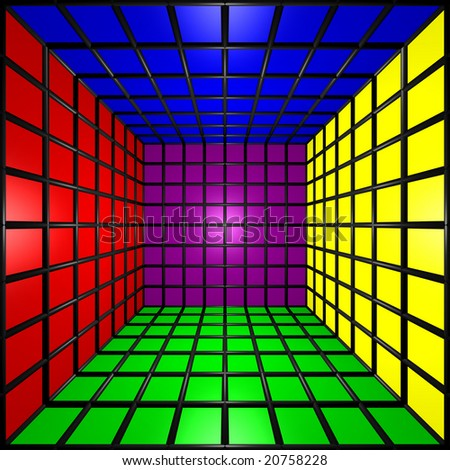 Computer generated image of a 3D colorful cube - stock photo