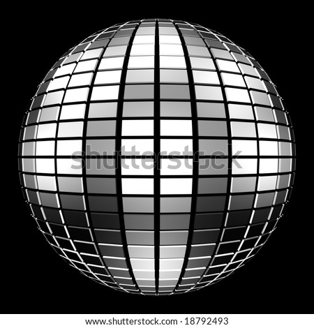 Computer generated image of a 3D disco mirror ball isolated on a black background