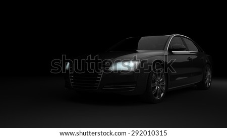 Computer generated image of a luxury sports car, studio setup, dark background. - stock photo