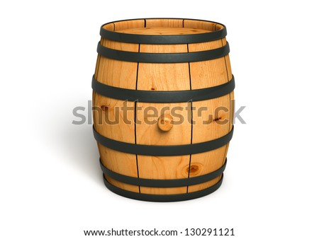 Computer generated image of a wine barrel made of wood isolated on white background - stock photo