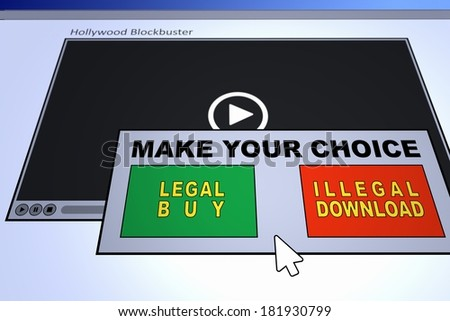 Computer generated image of an illegal piracy question. Concept for internet piracy. - stock photo