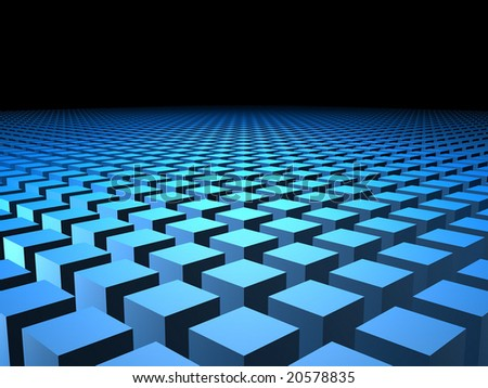 Computer generated image of 3D cubes arranged in formation with copyspace - stock photo