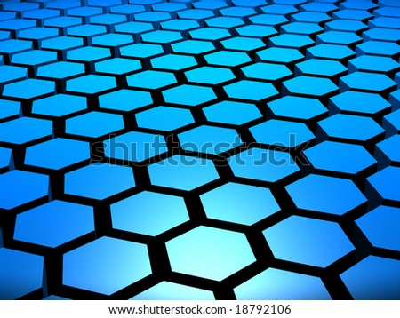 Computer generated image of 3D hexagons arranged in formation