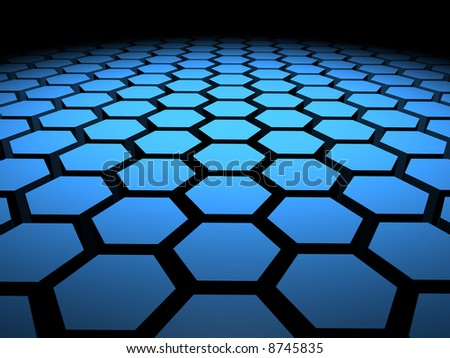 Computer generated image of 3D hexagons arranged in formation - stock photo