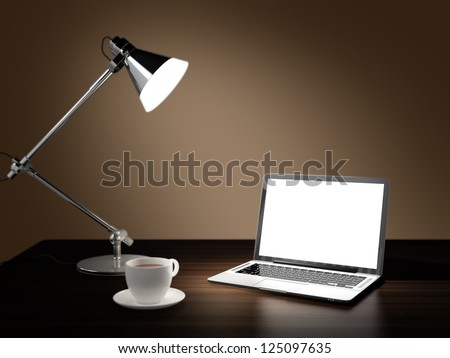 Computer generated image of laptop, desk lamp, and cup of coffee in dark room on wooden table - stock photo