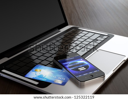 Computer generated image of mobile phone with mobile banking application on screen and credit card on laptop. - stock photo