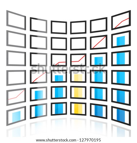 Computer generated image of  screen wall on white background. Tablet PC and graph on it. - stock photo