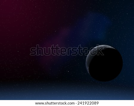 Computer generated image of stars with planet in night sky. - stock photo