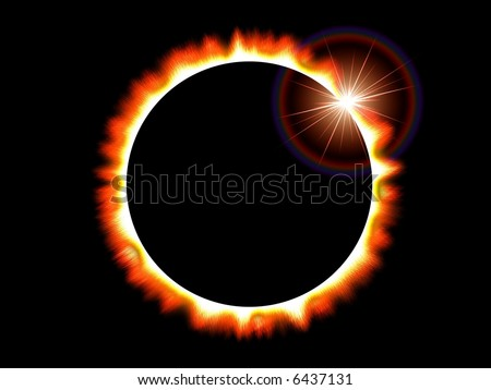 Computer generated image that depicts a solar eclipse of the sun on a black deep space background - stock photo