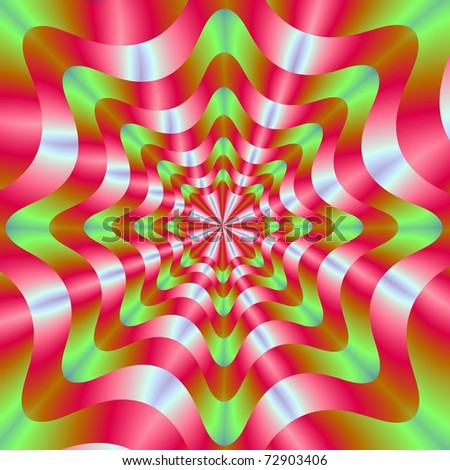 Computer generated image with an abstract circular geometric design in red and green.