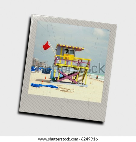Computer generated instant photo slide of lifeguard tower - stock photo