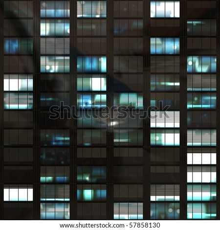 computer generated lit windows in a tall office skyscraper. tiles seamlessly for infinitely high building - stock photo