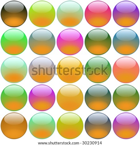 computer-generated multicolored round buttons