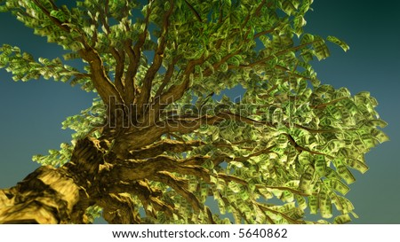 computer generated of money tree growing and blown by the wind - stock photo