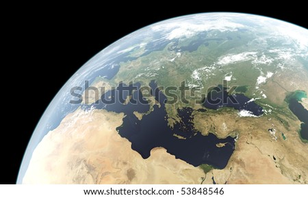 Computer generated planet Earth showing Europe, North Africa and Middle East and west parts of Asia. The planet texture used courtesy of Nasa.