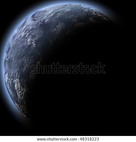 Computer generated planet, isolated over black background