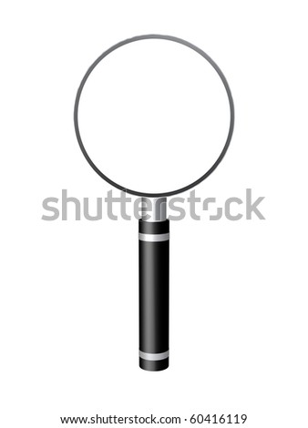 Computer Generated Rendering of a Black and Silver Magnifying Glass