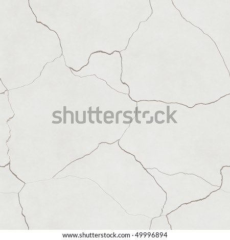 computer generated seamless tile image of cracked plaster in light beige or eggshell white. tiles seamlessly - stock photo