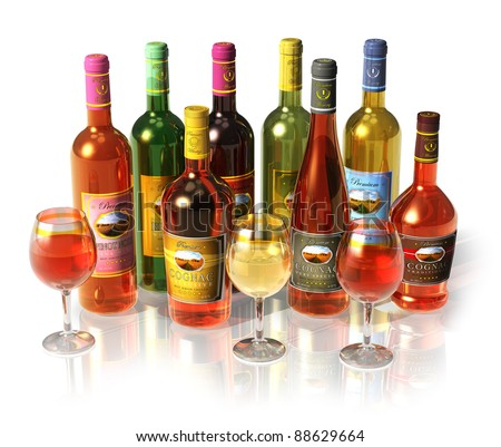 Computer generated set of wine and cognac bottles and goblets isolated on white reflective background - stock photo