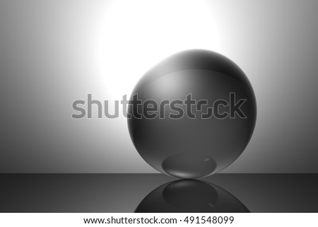 Computer-generated sky and metallic sphere. Different moods. Background image graphics. 3D illustration. 3D rendering.